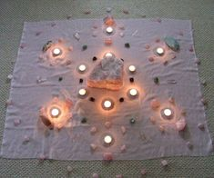 So what in the world is a crystal grid? When you are healing with crystals, you can arrange several crystals in a geometric pattern to direct energy and make your healing work more powerful. I have come across some amazing pictures of these crystal grids. The picture above is an example. From: http://wiccanmoonsong.blogspot.com/
