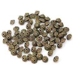 Tibetanische Spacer-Perlen zum Basteln von Schmuck, Bronzefarben, Antik-Stil, lose, 80 Stück: Amazon.de: Schmuck