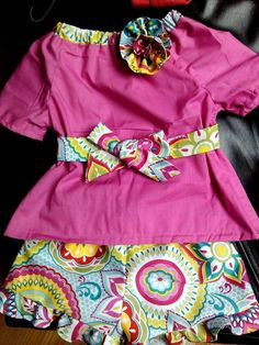 Floral ruffle shorts with matching shirt and belt by tutus2trains, $30.00