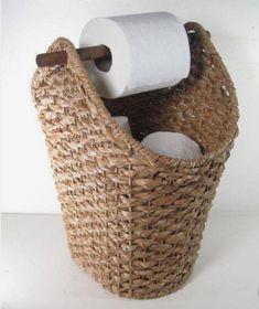 Wicker Rope Basket Toilet Paper Holder Rustic Country Style Bathroom Storage - Basket and Crate Country Style Bathrooms, Toilet Paper Storage, Rustic Toilet Paper Holders, Bad Styling, Rope Basket, Bathroom Styling, Bathroom Ideas, Teal Bathroom Decor, Paris Bathroom