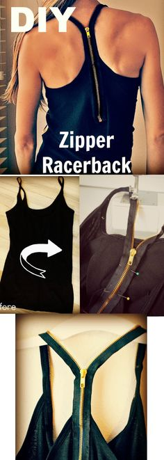 DIY: Turn a spaghetti tank into zipper racerback
