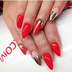 #uñas #nails #red #gold