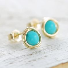 Turquoise Post Earrings Wrapped in 14k Gold Fill, December Birthstone Jewelry, Handmade, aubepine. $15.00, via Etsy.