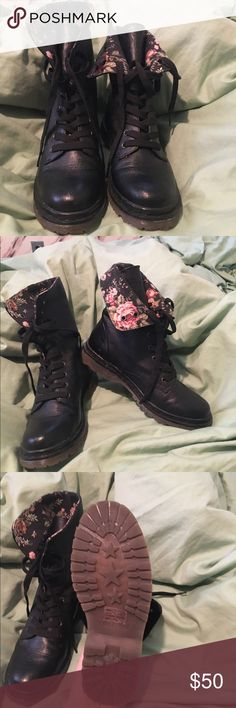 Report boots. Size 8 Black, Size 8 Report boot. I'm a size 7.5 and they were comfortable if I wore thick socks but a little too loose otherwise. Floral print on the inside of the boots is cute if you tie them loosely or fold them over. Doc Martin-style but not as heavy. Only worn twice Report Shoes Combat & Moto Boots