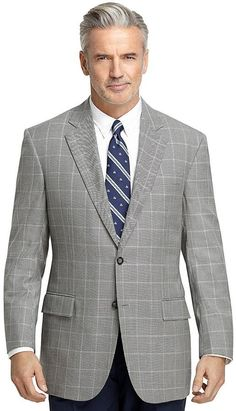 Madison Fit Black and White Check with Blue Deco Sport Coat