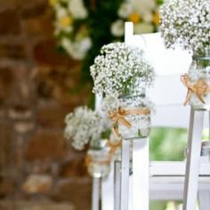 Vintage Mason Jar Vases for Wedding Ceremony Aisle, Vintage Rustic Wedding Decor, Set of 20