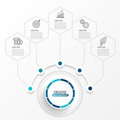 Vector infographic template with paper label, integrated circles. Business concept with options. Infographic Powerpoint, Creative Infographic, Infographic Templates, Circle Infographic, Web Design, Chart Design, Folders, Graphic Design Brochure, Powerpoint Design Templates