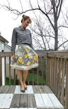 Sweet Parrish Place Style- Full floral skirt, plaid shirt, grey pumps