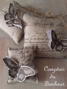"""Coussinets déco """"Papillon"""" boutiquebonheur.canalblog.com"""