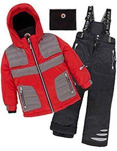 Deux par Deux Boys' Snowsuit Off The Mark Red, Sizes - 7 Snow Wear, Snow Suit, Polar Fleece, Neck Warmer, Boy Fashion, Latest Fashion Trends, Canada Goose Jackets, Motorcycle Jacket, Kids Outfits