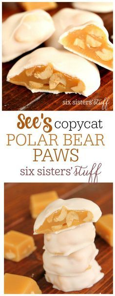 See's Copycat Polar Bear Paws on SixSistersStuff.com | Delicious caramel and peanuts coated with a vanilla chocolate coating. A delicious spring treat!