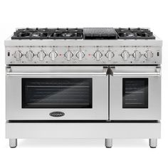 Cosmo Commercial-Style 48 in. Double Oven Dual Fuel Range with 6 Sealed Burners in Stainless Steel, Silver Dual Oven, Double Oven Range, Double Ovens, Verona, Freestanding Double Oven, Removable Backsplash, Electric Oven, Ventilation System, Oven Racks