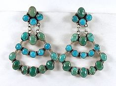 Gilo and Grace Nakai Navajo sterling silver and turquoise post earrings E512 Vintage Shops, Vintage Antiques, Antique Jewelry, Vintage Jewelry, Matrix Color, Native American Earrings, American Indian Jewelry, Vintage Earrings, Shades Of Blue