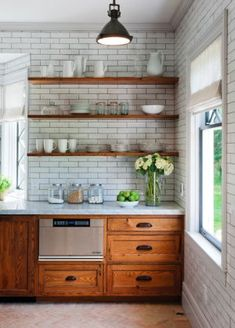 Modern Kitchen with Natural Wood Cabinets