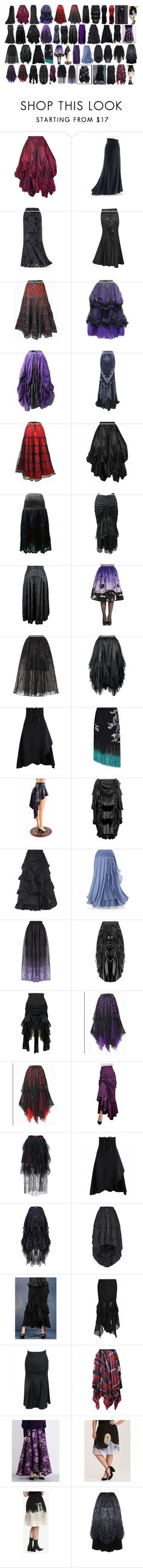 """""""Lanya's Long Skirts #2"""" by switchback13 on Polyvore featuring Hell Bunny, Elie Saab, RIXO London, California Costumes, Sacai, Temperley London and Torrid"""