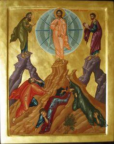 Holy Transfiguration icon on Flyover Pilgrim Religious Icons, Religious Art, Church Icon, The Transfiguration, Classic Paintings, Orthodox Icons, Pilgrim, Jesus Christ, Christianity