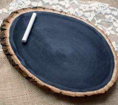 Rustic Chalk Board Log slab, tree branch, country decor, cabins, wedding, sm