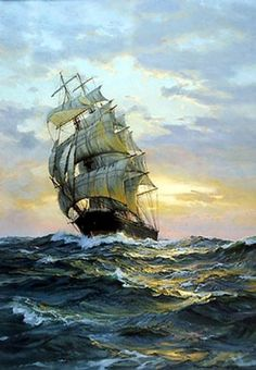 Paciffic Ocean Big Ship Wave Seascape Modern Abstract Oil...…