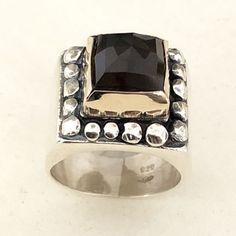 black crystal ring Silver Rings Handmade, Sterling Silver Rings, Gold Rings, Silver Jewelry, Crystal Ring, Quartz Ring, Smokey Quartz, Gold Set, Black Crystals