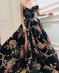 Prom Dresses Ball Gown, Gorgeous Sexy 2019 New Fashion Print Long Prom Dress,Off The Shoulder Evening Dress,Sexy High Slit Prom Gown SantaFe Bridal Elegant Dresses, Pretty Dresses, Sexy Dresses, Fashion Dresses, Summer Dresses, Women's Fashion, Casual Dresses, Office Dresses, Dance Dresses