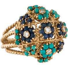 Pre-owned 14K Diamond, Sapphire & Turquoise Dome Cocktail Ring ($745) ❤ liked on Polyvore featuring jewelry, rings, diamond rings, cabochon sapphire ring, sapphire cocktail ring, turquoise diamond ring and statement rings