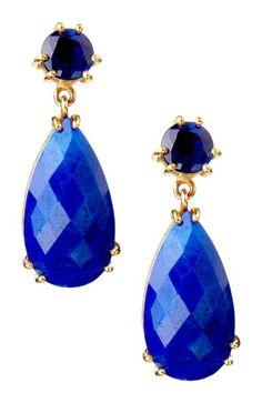 Pamela Huizenga    Kyanite & Lapis Drop Earrings