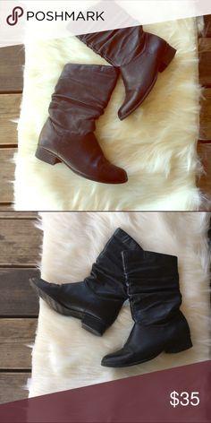 "Genuine Leather Calf Boots Size: 6. Color: black. Genuine Leather Boots. Comes to mid calf. Brand: fanfare estell. 1"" Heel. Shoes Combat & Moto Boots"