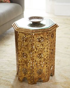 """Shop """"Casablanca"""" Side Table at Horchow, where you'll find new lower shipping on hundreds of home furnishings and gifts. Moroccan Table, Moroccan Art, African Furniture, Oriental Furniture, Octagon Table, Living Room Mirrors, Living Rooms, Antiques For Sale, Indian Home Decor"""