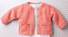 Une petite laine pour votre bébé, c'est indispensable. Et en plus dans une couleur vitaminée c'est encore mieux. Réalisé au point mousse, jersey endroit ce gilet est bordé de côtes ...