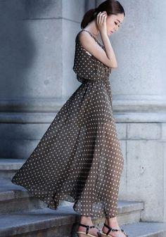 Khaki Polka Dot Sleeveless Chiffon Maxi Dress