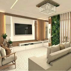 4 tips to successfully decorate your living room Tv Wall Design, House Design, Interior Design Living Room, Living Room Decor, Modern Tv Wall Units, Living Room Tv Unit Designs, Room Partition Designs, Tv Wall Decor, Restaurant Interior Design