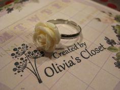 Cream Resin Rose Flower Ring Adjustable by Inoliviascloset