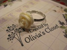 Cream Resin Rose Flower Ring Adjustable- Totally want this ring