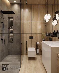 DIY and ideas for modern master bathroom, master bathroom, master bathroom decor. DIY and ideas fo Washroom Design, Bathroom Design Luxury, Bathroom Layout, Modern Bathroom Design, Modern Interior Design, Modern Master Bathroom, Small Bathroom, Wooden Bathroom, Bathroom Mirrors