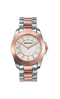 Que les parece este modelo bicolor??? Reloj tres agujas brazalete bicolor IP Rosa con cierre desplegable. Cristal mineral e impermeable 30m (3ATM)