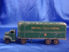 Vintage Diecast Metal Ralstoy Truck And Trailer Marshall Fields & Co. Antique Metal, Antique Toys, Vintage Trucks, Vintage Toys, Toy Model Cars, 1980 Toys, Collectible Toys, Green Goddess, Toy Trucks