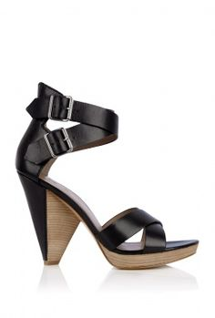 Black Leather Platform Sandal  by Belle Sigerson Morrison