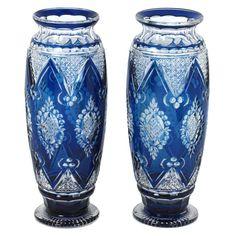 Pair of Art Deco Val St. Lambert Vases Designed by Joseph Simon