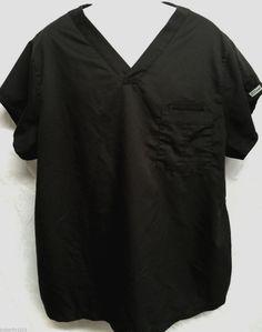 GREY'S ANATOMY MENS XL BLACK SCRUB TOP SCRUBS UNIFORM SHIRT 2 POCKET MUSCLE 103 #GreysAnatomy #MENSSCRUBS