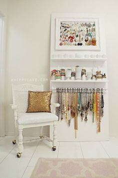 7 Ideas for Creative Master Closet Storage - The Inspired Room - CLEAN/ORGANIZE - 7 Ideas for Creative Master Closet Storage - The Inspired Room jewelry organization closet Jewellery Storage, Jewellery Display, Jewelry Organization, Home Organization, Necklace Storage, Necklace Display, Jewelry Closet, Closet Accessories, Diy Jewelry Wall Display