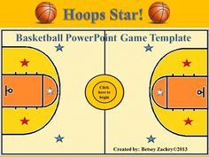 """This easy-to-use PowerPoint game template based on a basketball theme is a great way to review for a big test or quiz. It is easy to set up and play. Just type in the questions and answers and your class will be ready to """"shoot some hoops"""" and become classroom """"stars."""" This product by Betsey Zachry is available online at www.teacherspayteachers.com/Store/Betsey-Zachry"""