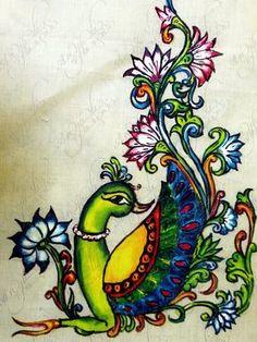 Kerala mural painting designs: pictures and techniques! Saree Painting, Kerala Mural Painting, Peacock Painting, Indian Art Paintings, Fabric Painting, Madhubani Art, Madhubani Painting, Rangoli Border Designs, Traditional Paintings