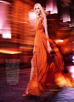 Blurred Pedestrian Editorials - Anja Rubik Walks Moonlit Streets for Pleine Lune in Vogue Paris (GALLERY)