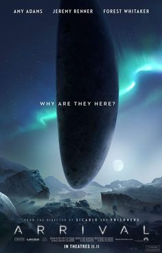 """[link] Arrival is a 2016 American science fiction drama film directed by Denis Villeneuve and written by Eric Heisserer, based on the 1998 short story """"Story of Your Life"""" by Ted Chiang. https://en.wikipedia.org/wiki/Arrival_(film) (fr=Premier contact)"""