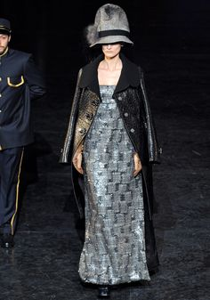 Louis Vuitton Fall 2012 tweed gown with black leather overcoat