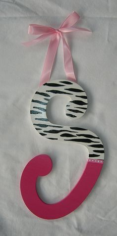 Wooden wall letters, hot pink and animal print  www.mysweetdreamsart.com  www.etsy.com/shop/ArtbyMalhotra     Be sure to see our creative wall letters home decor ideas at www.CreativeHomeDecorations.com. Use code Pin60 for additional 10% off.
