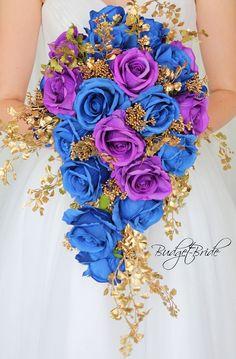 Horizon Blue, Purple and Gold cascading teardrop wedding bouquet