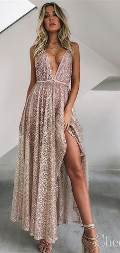 79e1bbe96c Shiny Deep V-neck Lace Prom Dresses Long Formal Dresses ARD1941