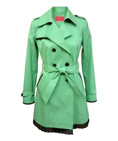 Ivanka Trump Spearmint & Black Double Breasted Trench Coat - Women by Ivanka Trump