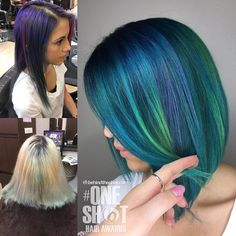 by @masterpiecehair - This is one of my favorite transformations I did last week I used all Kenra creative's color here. The roots are blue with a little bit of charcoal melted in to a mix of blue and teal then alternated pops of neon green and neon blue. Finished with a  beautiful angled bob. #kenracolor #bluehair #greenhair #kreate